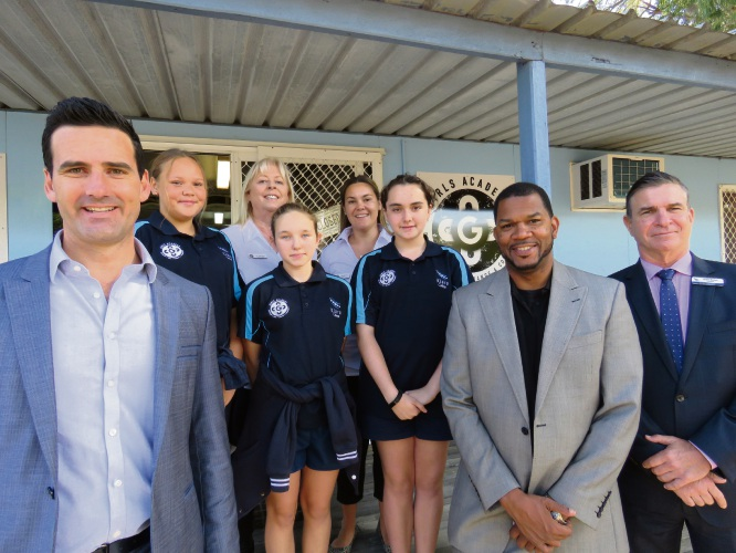 CCI WA chief executive Chris Rodwell, student Nakia Newbery, Kiara Girls Academy program manager Lisa Semmens, student Lili Hughes, Kiara Girls Academy development officer Danielle Toy, student Taneeka Morris, Girls Academy chief executive Ricky Grace, and Kiara College principal Grant Brown. Picture: Giovanni Torre