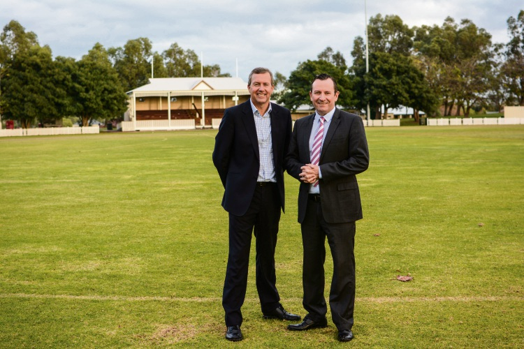 Baldivis MLA Reece Whitby and Premier Mark McGowan.