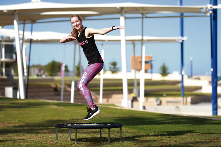 Jessica Smith is the instructor of Bounce, a trampoline exercise company that runs from Deanmore Street in Scarborough. Picture: Andrew Ritchie d482201
