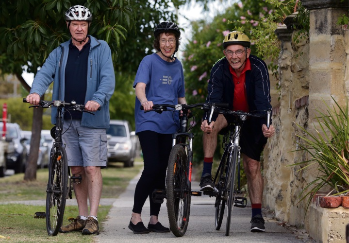 Village Hub members Barry Watkins, Jackie Hinds and Robert Nelson are encouraging people to join a social cycling group. Picture: Martin Kennealey.