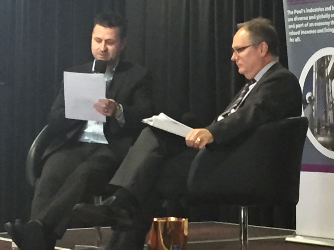 Peel Commerce and Industry vice president Mark Rattigan questions David Templeman at the briefing Q and A.