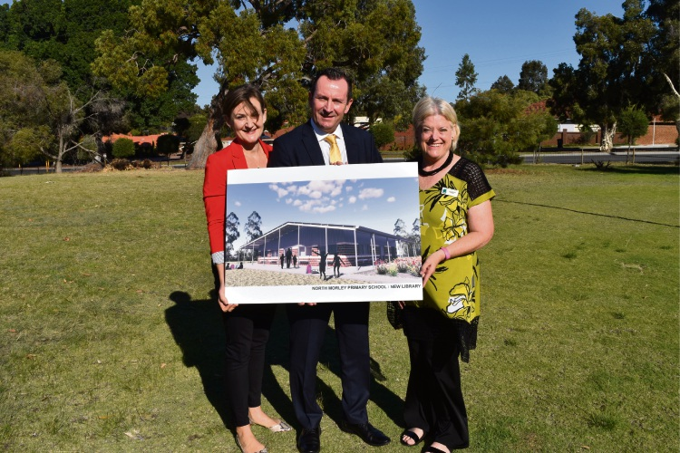 Morley MLA Amber-Jade Sanderson, Premier Mark McGowan and North Morley PS principal Lisa Gibson.