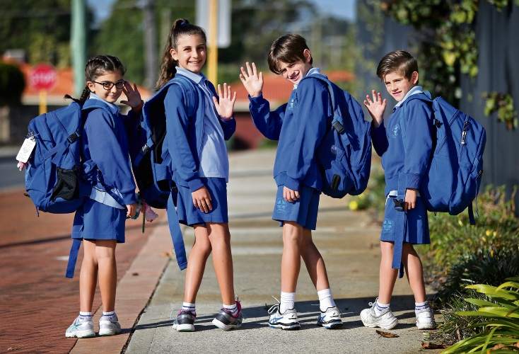 Sienna (8) and Jordana (11) Scriva of Caversham with Zeke (10) and William (7) Beros of Eden Hill. Good Shepherd Catholic Primary School are participating in National Walk Safely to School Day on May 18. Picture: David Baylis www.communitypix.com.au d482543