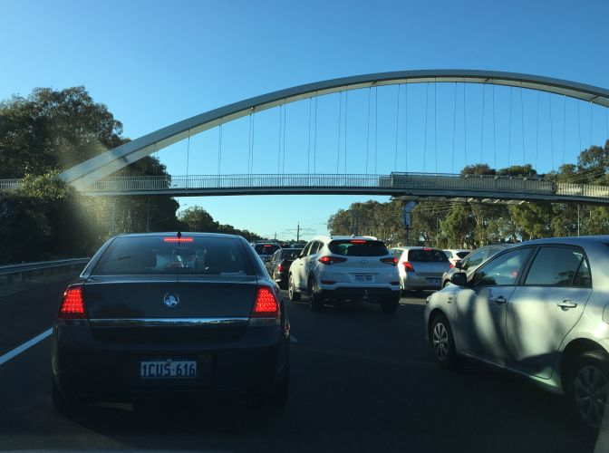 Traffic on the Mitchell Freeway. Picture: Justin Bianchini