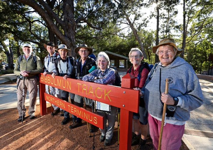 Mike Barnes and Alan Wells (far left) with other members of the Perth Bush Walkers Club, setting off on a bush walk. Picture: David Baylis d482269