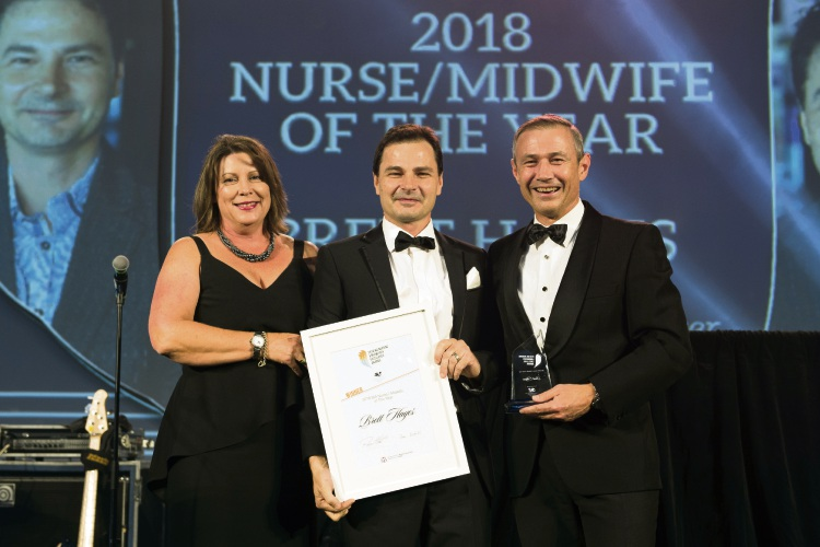 WANMEA Nurse of the year winner Brett Hayes, the Minister, and Ms Meredith Walker from the WA Nurses Memorial Charitable Trust. Picture: Supplied