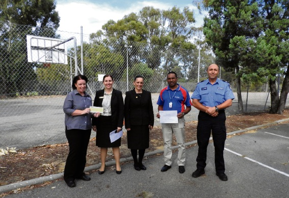 Kensington PCYC Centre Manager Amanda Dow (left), Commonwealth Bank Branch Managers Michelle Johns and Trudie Fairhurst, Kensington PCYC Centre Support Manager Daniel Naidoo, Youth Crime Intervention Officer John Valastro.