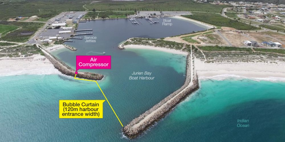 The Department of Transport hopes a bubble curtain will reduce seagrass build-up in Jurien Bay Boat Harbour.
