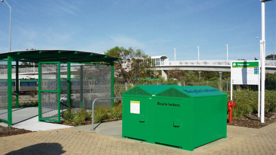 The two storage lockers that have been removed, with the bike shelter that will be expanded in the background.