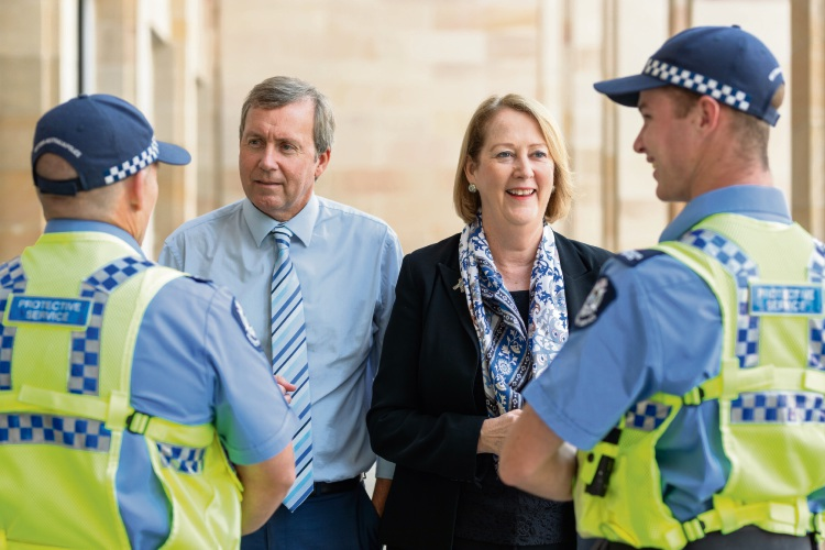 Reece Whitby and WA Minister for Police Michelle Roberts with members of the WA police force.