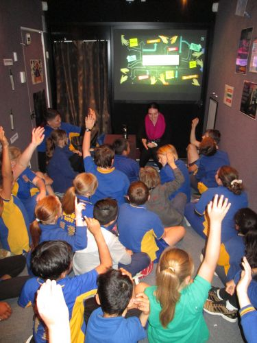 Life Education educator Gina Natale teaching children in the Life Education Centre.