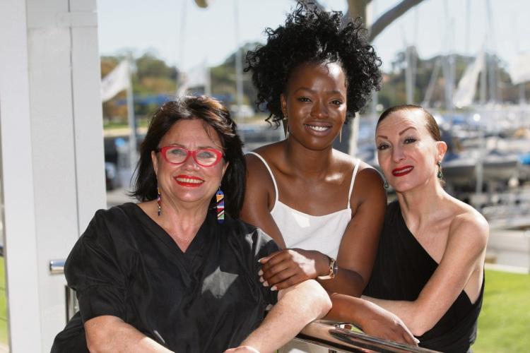 Susan Saleeba (Nakuru Hope Founder), Astrid Tshidibu (model) and Ali Bodycoat (MC) Picture: Bruce Hunt www.communitypix.com.au   d482830
