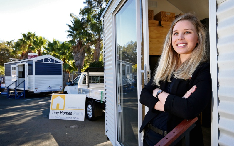 Stephanie Brokenshire with tiny homes supplied by Tiny Homes WA and Tiny Homes Perth. Picture: David Baylis d482853