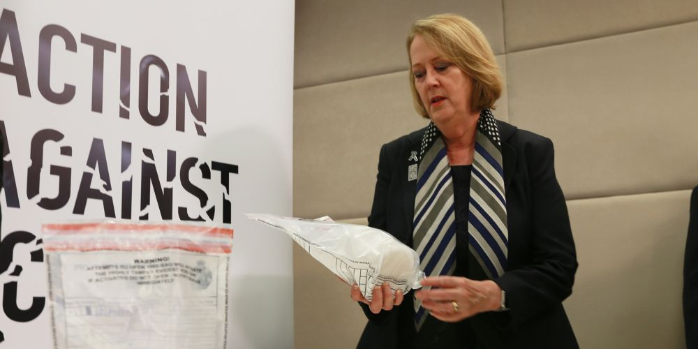 Police Minister Michelle Roberts with meth and cocaine. Picture: Andrew Ritchie.