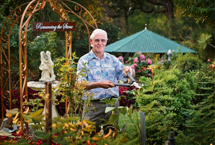 Tom Hogg of Maida Vale, getting his Romancing the Stone garden ready for an open garden fundraiser on May 26 and 27. Picture: David Baylis d482640