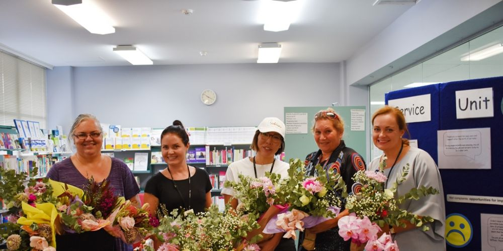 KEMH staff with members of the City of Subiaco's See Subiaco team. Flowers from the Subi Blooms installations over Mother's Day have been re-gifted to mums in hospital. Picture: Supplied