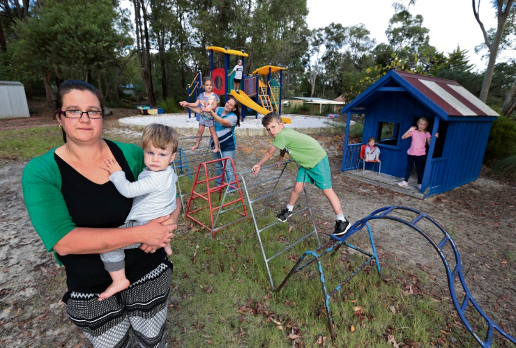President Parent Committee Mt Helena Community Kindergarten Narelle Thredgold (front) with her 18-month-old son Kobe and other concerned parents and children. Picture: David Baylis d482097