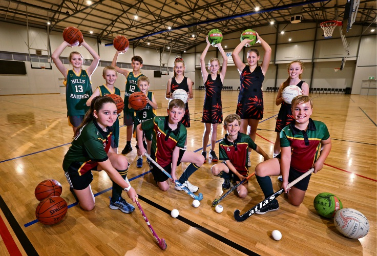 Representatives from the sports clubs using the new Mundaring Arena include Hills Night Hockey, Hills Raiders Basketball and Eastern Hills Netball Associations. Photo: David Baylis