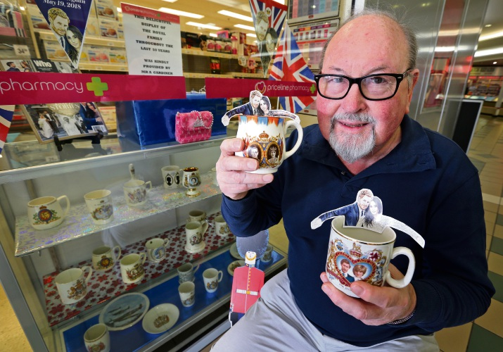 Tony Gardiner of Kalamunda with items from his royal collection that he started gathering 50 years ago. Tony has his royal mug collection on display at Priceline in Kalamunda. Picture: David Baylis.