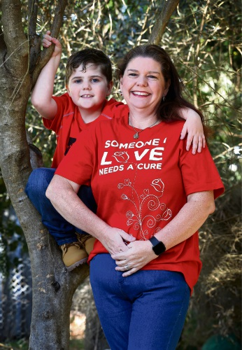 Melissa Gibson of Mt Helena with her son Toby (7) who has Cystic Fibrosis. Picture: David Baylis d482850