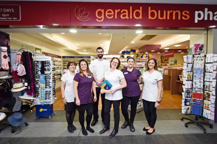 Gerald Burns Pharmacy staff Anna Nasuti, Charlotte Wain, Tom Ryan, Amanda Bryce (owner), Emma Hart and Rana Rostom.