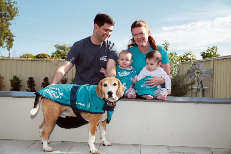 Colin and Nicky Davis (Duncraig) with twins Rachel and Sam and rescue dog Biscuit. Photo: Martin Kennealey