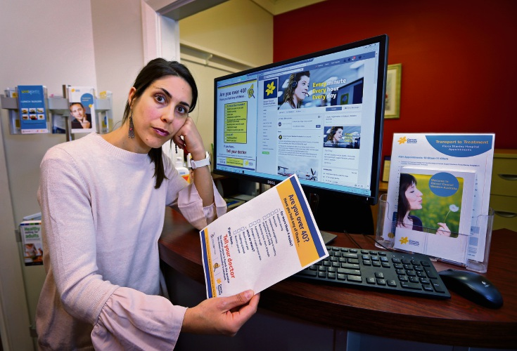 Mikala Atkinson from Cancer Council WA says Facebook has blocked life-saving health messages from its Find Cancer Early campaign. Picture: David Baylis d482950