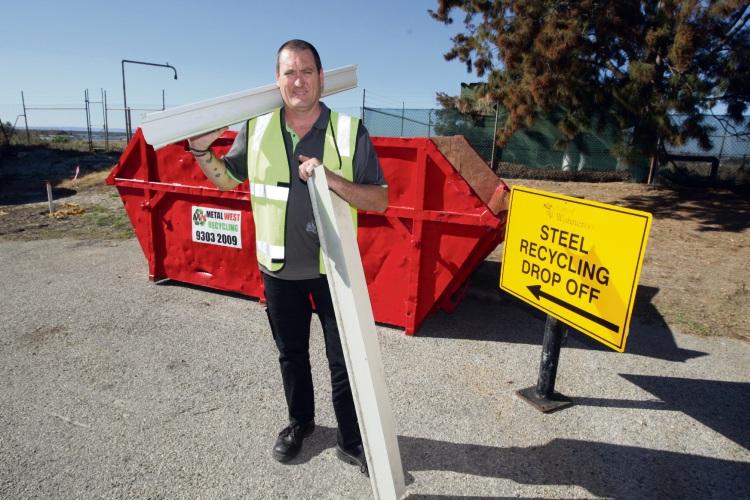 Wangara Greens Recycling facility manager Mark Bennett at the scrap metal drop. Photo: Bruce Hunt