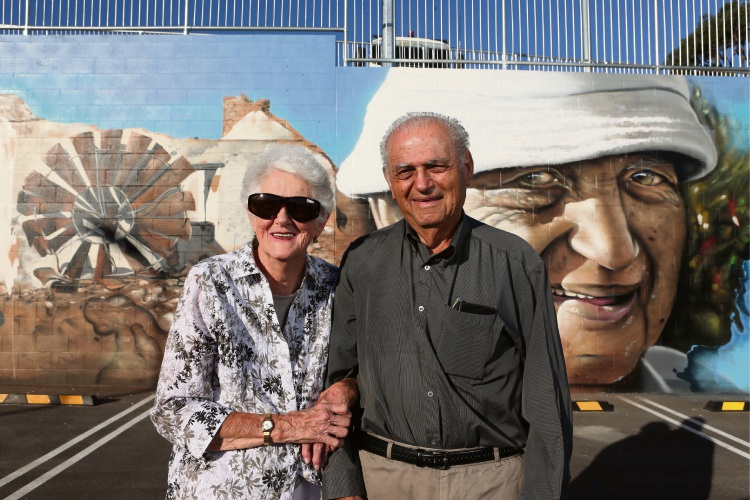 Margaret Cockman and Nick Trandos were muses for the mural. Pictures: Martin Kennealey d482390