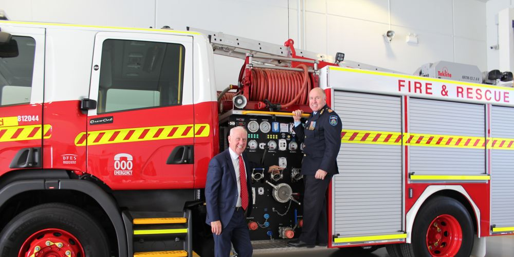Emergency Services Minister Francis Logan and Fire and Emergency Services Commissioner Darren Klemm.