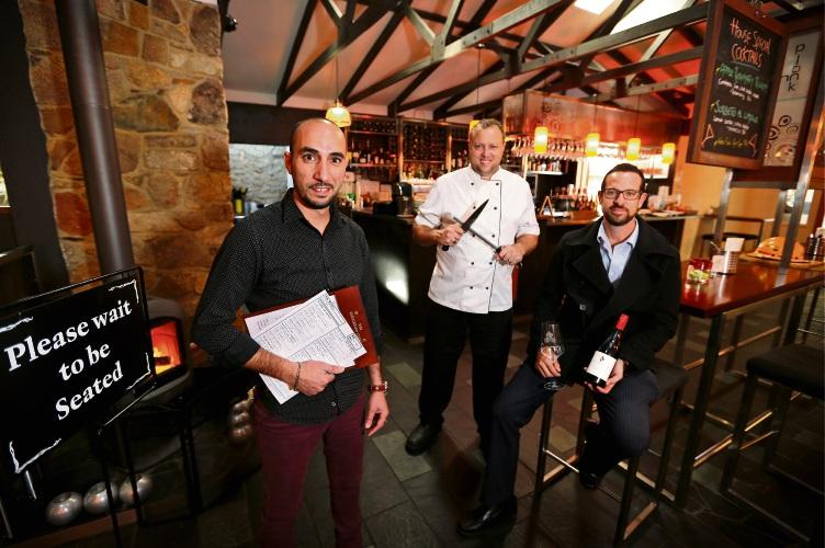 Inn Mahogany Creek venue manager Bonifacio Napolitano, executive chef Ross Booth and director Kepler Weber at The Inn Mahogany Creek. Picture: David Baylis d482303