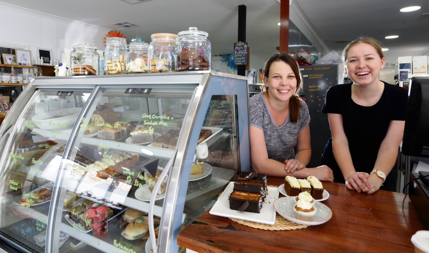 Sarah Mapley and Caitlyn Sanders from Hatched Coffee Shop. Picture: Martin Kennealey d482994