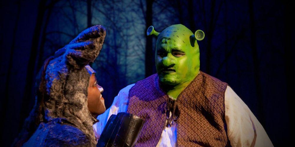 Donkey (Jioji Nawanawa) and Shrek (Nicholas Gaynor) in Shrek.