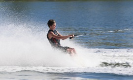 Cody McCreey finished eighth in the Australian National Barefoot Competition. Pic: Barefoot skier.