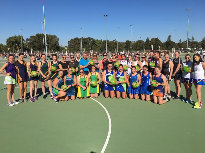 Nedlands MLA Bill Marmion and PNA president Jenni Stawell with players and the new balls.
