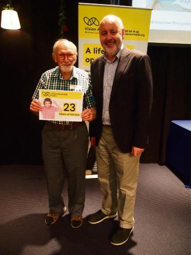 Wembley Downs resident Jack Greenaway with Vision Australia Radio chief executive Ron Hooton.