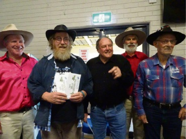 MC Rob Gunn with Chris Taylor, Geoff Maughan and judges Bill Gordon and John Hayes.