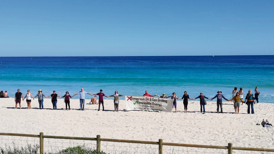 Hands Across the Sand campaign at Scarborough Beach.