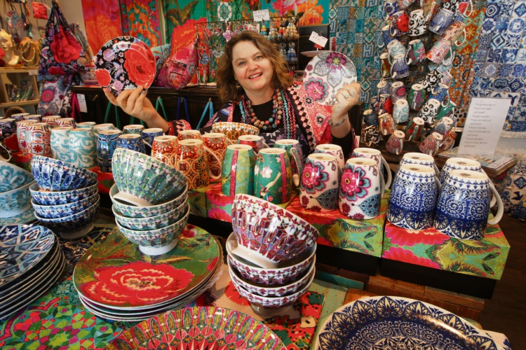 Anna Chandler with some of her ceramics and homewares.  Picture: Bruce Hunt www.communitypix.com.au   d482992