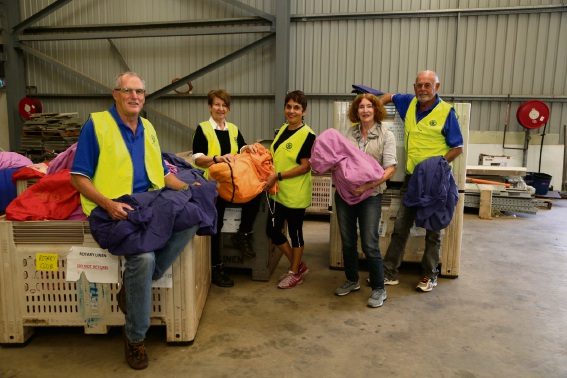 Project Linen co-ordinator Gerry McGann with Mill Point Rotary volunteers.