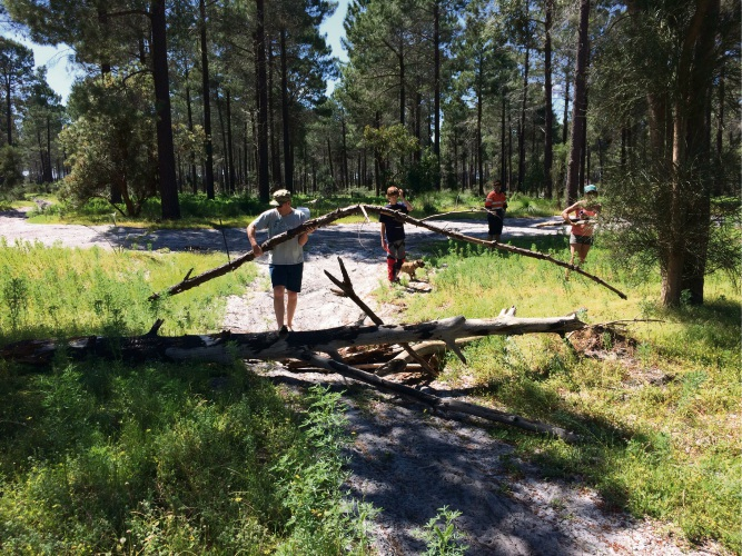 Volunteers cleaning up the trails at Pinjar.