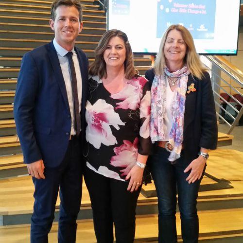 Mayor Rhys Williams, Peel Volunteer Resource Centre manager Vicky Pollard and Deputy Mayor Caroline Knight at the celebration.