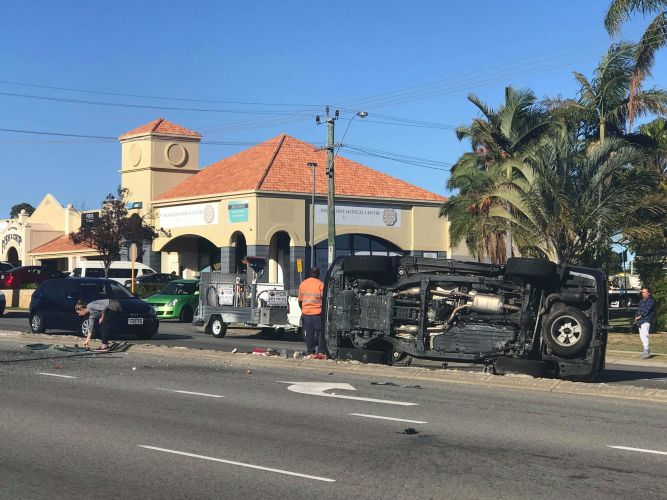 The car rollover on Wanneroo Road. Picture: Zena Louise