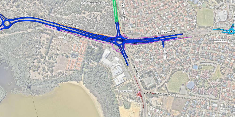 A Main Roads WA concept plan for the Wanneroo Road-Joondalup Drive interchange and surrounding road upgrades.