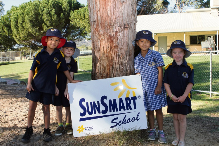 Maida Vale pre-primary students Jahsiah Kanapu, Oliver McEwan, Lola Tuitavake and Ava Bekink are part of the next generation of SunSmart kids. Picture: Supplied