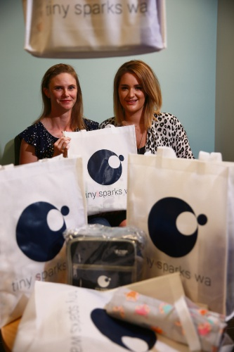 Tiny Sparks co-founder Amber Bates with new mum Sophie Thompson. Picture: Andrew Ritchie www.communitypix.com.au d483026