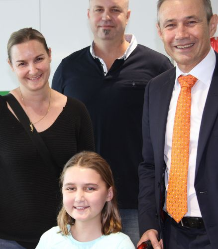 Kristin, Geoff and Tamiya Lovell (Dampier) with Health Minister Roger Cook at the unveiling of the new parent accommodation at PCH.