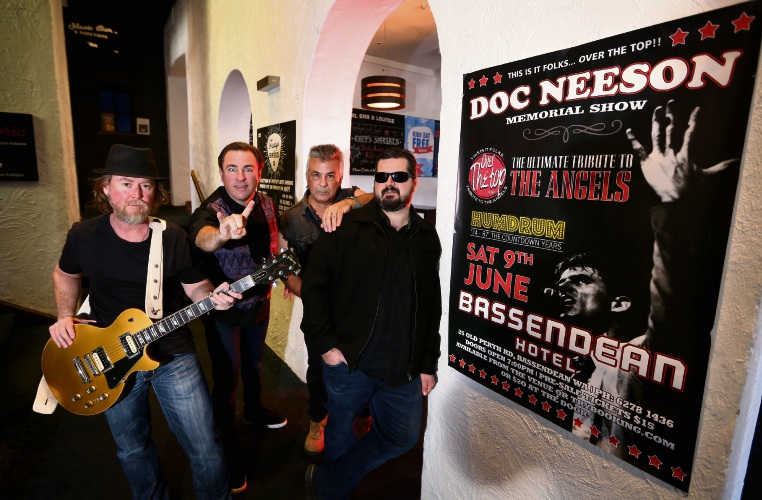 Dave Lyon (Guitar/Vocals), Tim Watt (Vocals), Pete Borg (Bass/Vocals) and Doug Eames (Guitar/Vocals). Local Angels tribute band Over The Top will be playing a Doc Neeson memorial show at the Bassendean Hotel in June. Picture: David Baylis www.communitypix.com.au d483043