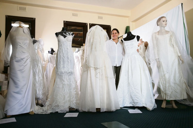 Bridal Exhibition coordinator Jacqui Daniels with some of the gowns going on display in June.
