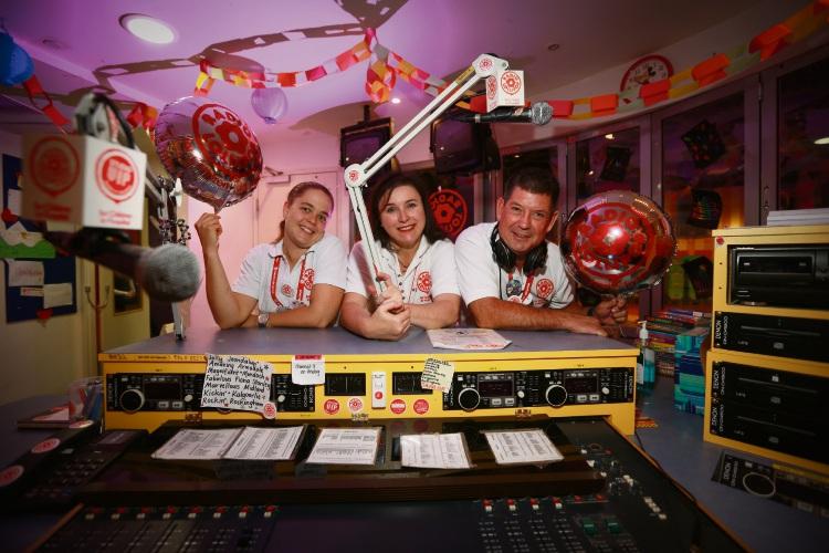 Radio Lollipop volunteers Stephanie Blake (Maylands), Justine 'Jelly Bean' Gabriele (Claremont) and Richard Elkington (Bayswater). Picture: Andrew Ritchie d482973